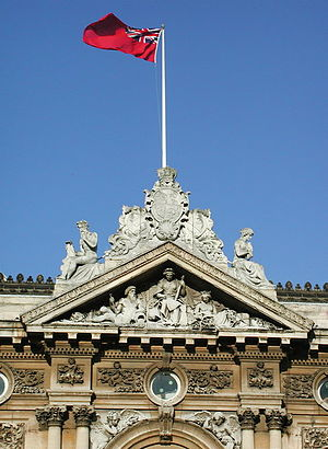 Hull Maritime Museum - Detail of the Dock Offices building with Red Ensign flying
