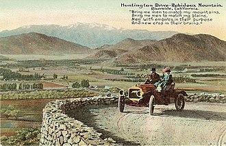 Henry E. Huntington - Postcard of sightseers, circa 1910, driving up Mount Rubidoux in Riverside, California via Huntington Drive.