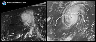 Hurricane Camille - Comparison of Hurricanes Camille (left) and Katrina on satellite imagery