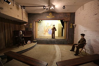 Hurst Castle - The theatre in the West Wing, with surviving original wall paintings from the Second World War