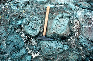 Hyaloclastite - Hyaloclastite between pillows of lava in Montana