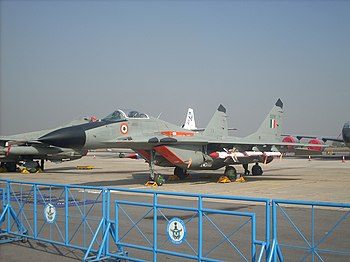 English: IAF MiG-29 at Aero India 2009.