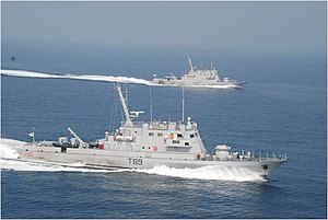 Car Nicobar-class patrol vessel - Image: INS Car Nicobar (T69) and INS Chetlat (T70) cruise