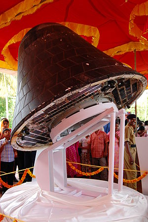2007 in spaceflight - SRE-1, the first Indian recovered spacecraft, on public display at Thiruvananthapuram