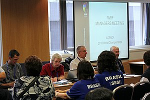 International Wheelchair Basketball Federation - IWBF President Maureen Orchard leads the team managers' meeting, 2010