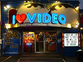Video rental shop physical retail business that rents home videos such as movies, TV shows, video game discs and other content.
