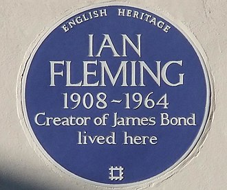 Blue plaque - English Heritage blue plaque commemorating Ian Fleming at 22b Ebury Street, Belgravia, London (erected 1996)