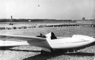 Ikarus Meteor - Meteor 57, probably at Jeżów Sudecki airstrip, Poland, c.a. 1958