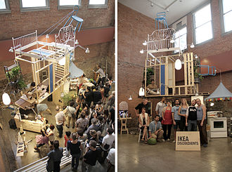 MoMA PS1 - 'IKEA Disobedients'. Architectural archive, installation and performance on non familiar domestic urbanisms. MoMA PS1. MoMA Collection. 2012.
