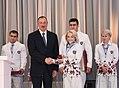 Ilham Aliyev met with athletes who competed in 31st Summer Olympic Games (Ilham Aliyev and Mariya Stadnik).jpg