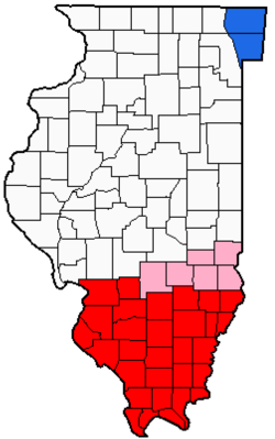 Counties of Southern Illinois. In red are the counties usually included, in pink are counties sometimes included.