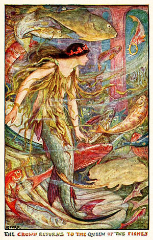 "Andrew Lang's Fairy Books - ""The Crown Returns to the Queen of the Fishes"". Illustration by H. J. Ford for Andrew Lang's The Orange Fairy Book"