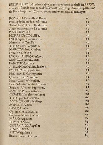 Africa (Petrarch) - Contents of a 1476 edition of Petrarch's Illustrious Romans