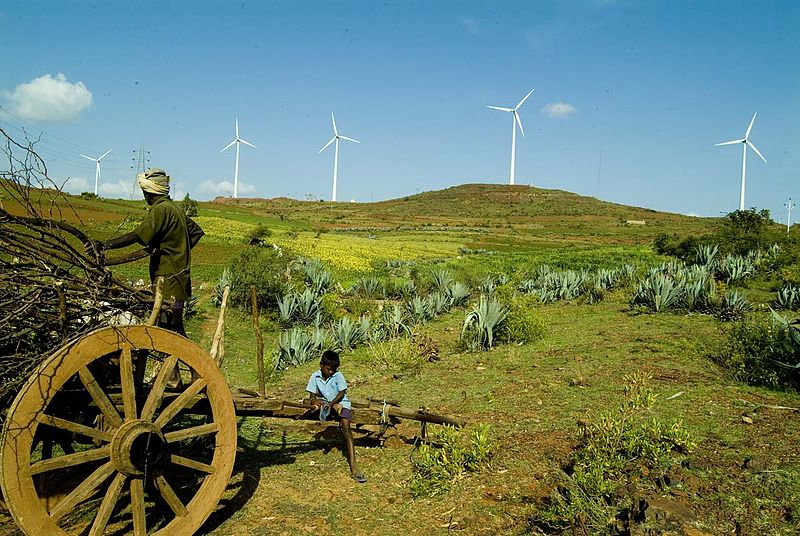 File:India fields and wind turbines.jpg