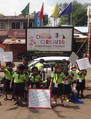 Education in India - Indian Pre-Primary School children (Divine Orchids International Preschool, Jawhar)