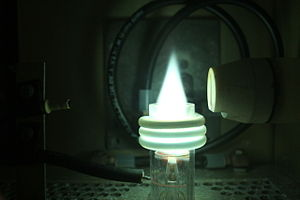 Inductively coupled plasma - Fig. 1. Picture of an analytical ICP torch
