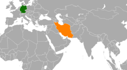 Map indicating locations of Iran and Germany