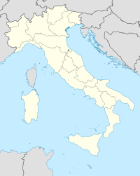 Map of Italy with mark showing location of Rome