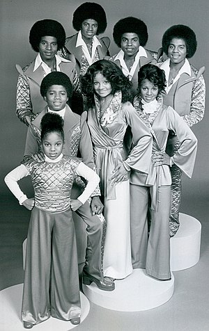 Janet Jackson - Jackson (bottom row) in a 1977 CBS photo on the set of The Jacksons