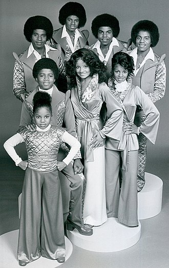 Jackson family - The Jackson siblings from their television program The Jacksons. Front, from left: Janet, Randy, La Toya, Rebbie. Back, from left: Jackie, Michael, Tito, Marlon. Note: Jermaine was not part of the television program due to contractual issues and is not pictured.