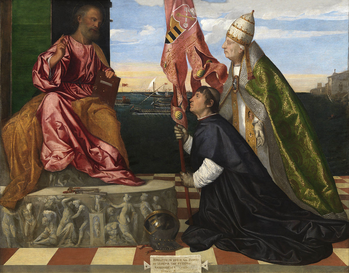 https://upload.wikimedia.org/wikipedia/commons/thumb/b/be/Jacopo_Pesaro_presented_to_St._Peter_by_Pope_Alexander_VI_-_Tizian-2.jpg/1200px-Jacopo_Pesaro_presented_to_St._Peter_by_Pope_Alexander_VI_-_Tizian-2.jpg