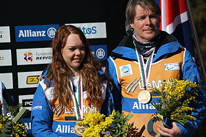 Jade Etherington - Jade Etherington and guide John Clarke receive bronze medals for the Super G at the 2013 IPC Alpine World Championships in La Molina