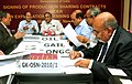 Jaipal Reddy witnessing the signing of Production Sharing Contracts for NELP-IX blocks, in New Delhi on March 28, 2012. The Secretary, Ministry of Petroleum and Natural Gas, Shri G.C. Chaturvedi is also seen.jpg