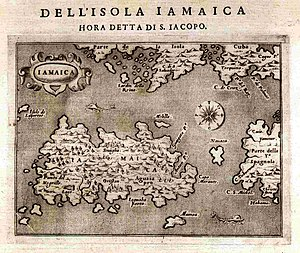 Morant Point - 1572 map of Jamaica by Tomaso Porcacchi.