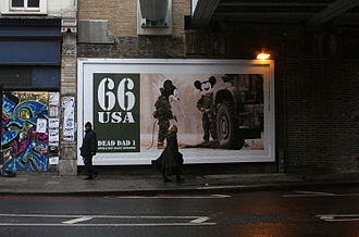 Jimmy Cauty - James Cauty artwork Operation Magic Kingdom bombed onto billboard in Old Street, 2007