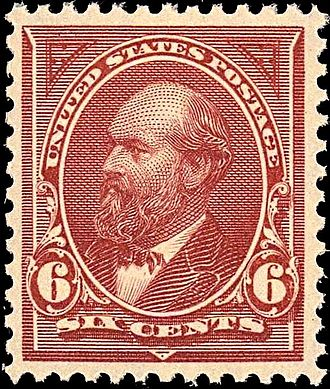 Garfield, Issue of 1894 1st postage stamp printed by BEP James Garfield2 1894 Issue-6c.jpg