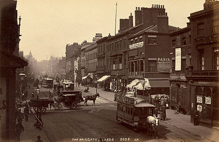 19th-century Briggate, Leeds James Valentine The Briggate Leeds.jpg