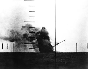 Balao-class submarine - Periscope photo of a Japanese merchant ship sinking.