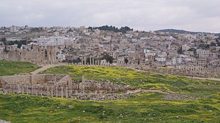 """The <a href=""""http://search.lycos.com/web/?_z=0&q=%22Ancient%20Rome%22"""">Roman</a> city of Gerasa and the modern Jerash (in the background)."""