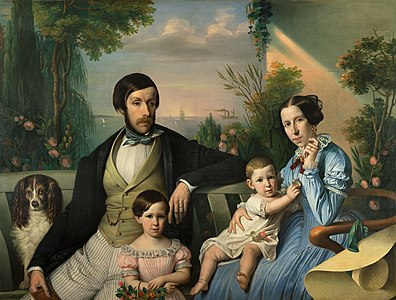 1849 family portrait painting of Pietro Stanislao Parisi with family