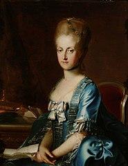 Erzherzogin Maria Karoline (1752-1814), Königin beider Sizilien, an einem Tisch sitzend, Halbfigur