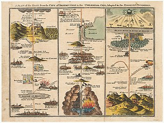 The Pilgrim's Progress - A Plan of the Road From the City of Destruction to the Celestial City, Adapted to The Pilgrim's Progress, by John Bunyan, 1821.