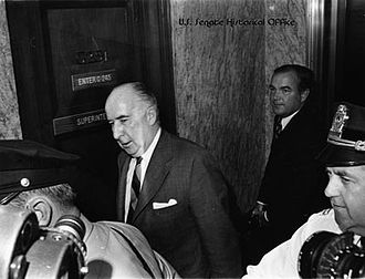 John N. Mitchell - Former Attorney General Mitchell enters the Senate caucus room to testify before the Senate Watergate Committee, 1973