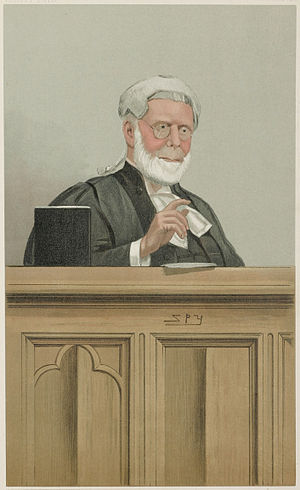 """John Rigby (politician) - """"a blunt Lord Justice"""" As caricatured by Spy (Leslie Ward) in Vanity Fair, March 1901"""