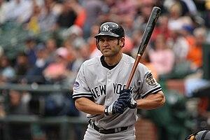2008 New York Yankees season - Johnny Damon batting in 2008.