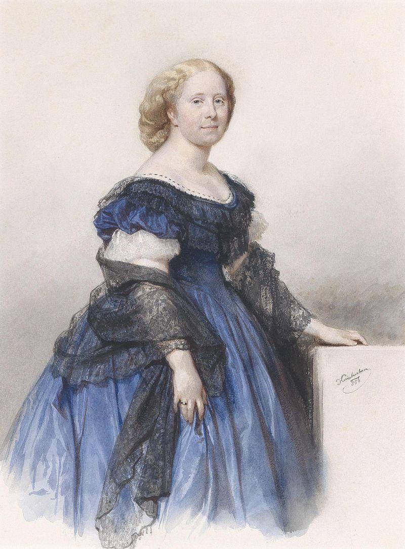 Josef Kriehuber Bildnis einer Dame in blauem Kleid 1856.jpg