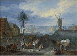 Joseph van Bredael - A village with a windmill