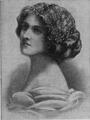 "Juliet cap - ""A pretty and easily made Juliet cap in narrow gold braid and artistically coloured beads"", from Every Woman's Encyclopaedia, 1910."