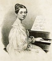 Lithograph of a young girl at the piano, with a hand on the keyboard but the face turned back, dressed in a festive gown