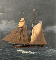 Two-masted schooner off Gibraltar
