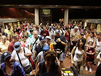 Crowd - A crowd leaves the Vienna station on the Washington Metro in 2006.