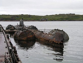 November-class submarine - Decommissioned submarine K-159 (renamed as B-159 in 1989) in Gremikha Bay of Barents Sea, 28 August 2003 – ready for towing to the shipyard for scrapping