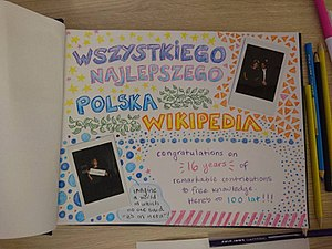 K Maher's greetings for Polish Wikipedia on its 16th birthday.jpg
