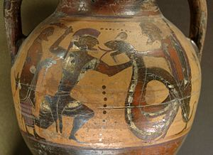 Cadmus - Cadmus and the dragon, black-figured amphora from Euboea, ca.  560–50 BC, Louvre (E 707).