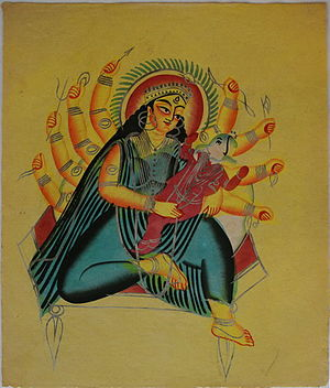 Kalighat painting - Ganesha in the lap of Parvati