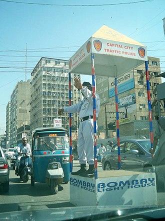 Sindh Police - A traffic police man in Karachi.